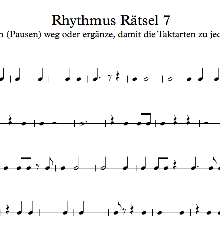 Rätsel, Musikunde, Elementares Musizieren, Lustiges